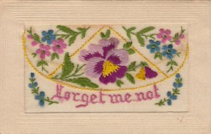 EMBROIDERED; Forget Me Not, Pansy flowers, Castle Insert, 1900-10s