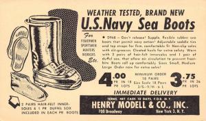 New York City~Modell US Navy Sea Boots~Inner Soles~Duffel Sox~1948 Adv Postcard