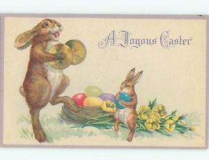 Pre-Linen Easter HUMANIZED BUNNY RABBIT PLAYING MUSICAL CYMBALS AB3390