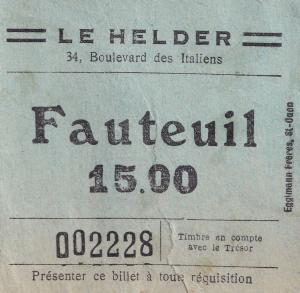 Le Helder Boulevard De Paris 1950s Ticket
