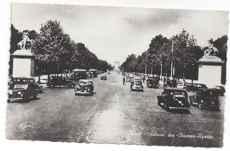 RP France Paris Avenue des Champs Elysees 1940s Gany Cars