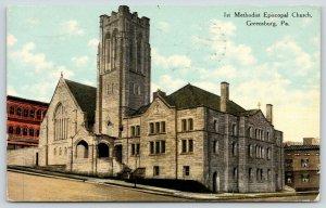 Greensburg Pennsylvania~1st Methodist Episcopal Church on Hillside~1910 Postcard