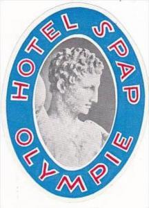GREECE OLYMPIE HOTEL SPAP VINTAGE LUGGAGE LABEL