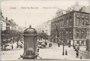 Liege Belgium Hotel de Ville Place du Marche Unused Postcard F70
