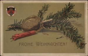 German Christmas Candle Pine Bough 1880 Verein Society Crest c1910 Postcard