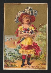 VICTORIAN TRADE CARD Soapine French Girl w/Umbrella