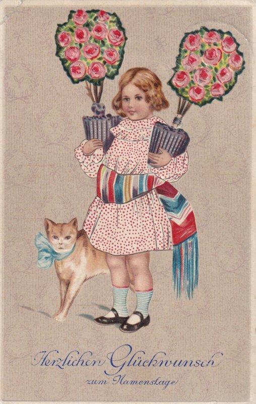 Herzlichen Gluckwunsch zum Namensfage, PU-1907; Girl Holding Potted Roses, Cat