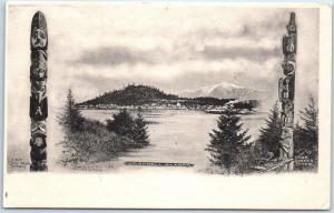 1908 Wrangell, Alaska Postcard CHIEF SHAKES TOTEM w/ Panorama View Albertype