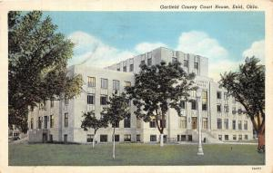 Enid Oklahoma~Garfield County Court House~Young Trees on Lawn~1939 Postcard