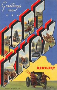 Fort Knox Kentucky Military Greetings Large Letter Vintage Postcard JD933818