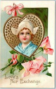 Vintage VALENTINE'S DAY Postcard Love's Fair Exchange Dutch Girl / c1910s