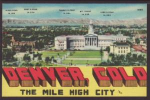 Denver CO The Mile High City Postcard 4383