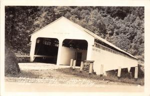 D87/ Dawson Camp West Virginia WV Real Photo RPPC Postcard Covered Bridge 40s