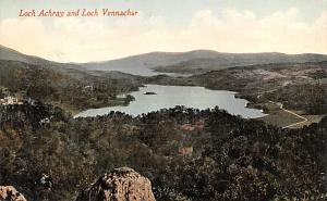 Scotland, UK Old Vintage Antique Post Card Loch Acray and Loch Vennachar Unused