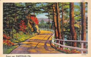Danville Pennsylvania~Wooden Railing on Road Along the Susquehenna River 1933