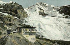 switzerland, Jungfraubahn, Station Eigergletscher & Mönch (1910s) Postcard