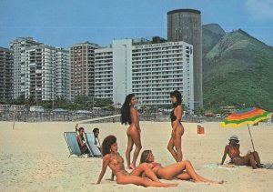 Saint Conrado Beach 1980s LA USA LGBT Umbrella Postcard