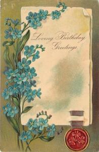 PFB Birthday~Parchment Greeting~Red Seal~Blue Forget-Me-Nots~Embossed~#5335