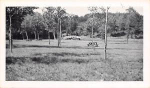 Iron Mountain Michigan~Rivers Bend Camp Grounds~Picnic Table~Bridge~1940s B&W PC