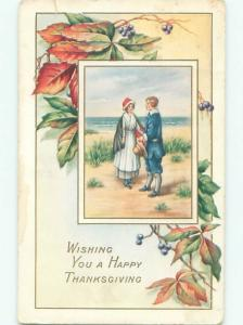 Divided-Back THANKSGIVING SCENE Great Postcard AA0650