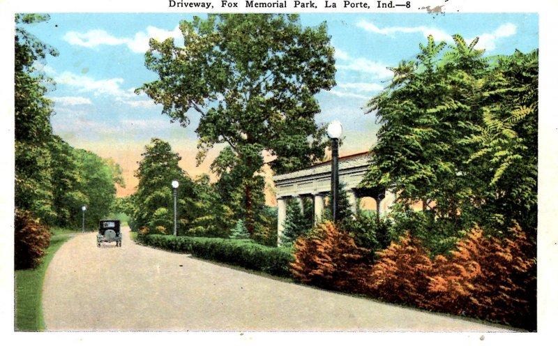 La Porte, Indiana - The Driveway at Fox Memorial Park - c1920