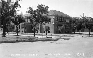 1940s Junior High School Mitchell South Dakota RPPC Photo Postcard Cook 4144