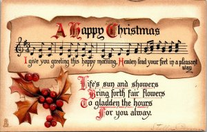 Postcard Merry Christmas - MUSIC NOTES - VINTAGE - RARE PC - TUCK POSTED
