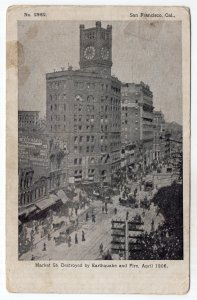 San Francisco, Cal., Market St. Destroyed by Earthquake and Fire, April, 1906