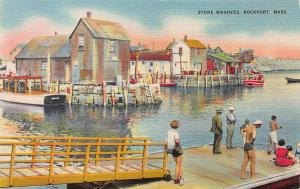 Stone Wharves, Rockport, Massachusetts, Early Linen Postcard, Unused