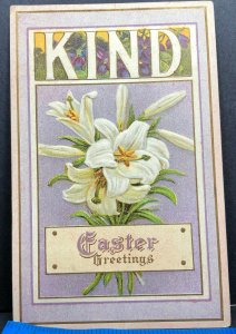 Easter Greeting Kind Lily Flowers 1914 Antique Postcard