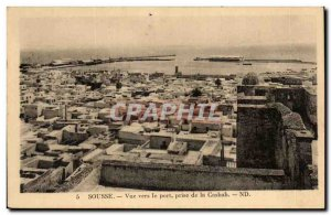 Old Postcard Sousse View to the port taking the Casbah