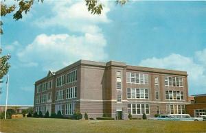 Milford Delaware~School Bus & Parking Lot of High School~1950s Postcard