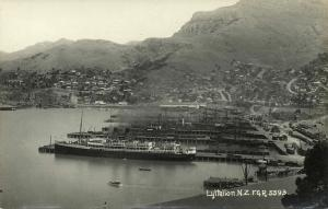 new zealand, LYTTELTON, Port Harbour Scene, Steamer (1910s) RPPC
