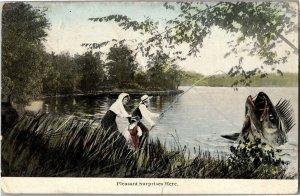 Exaggeration Man Hooks Giant Fish Pleasant Surprises Here Vintage Postcard X03