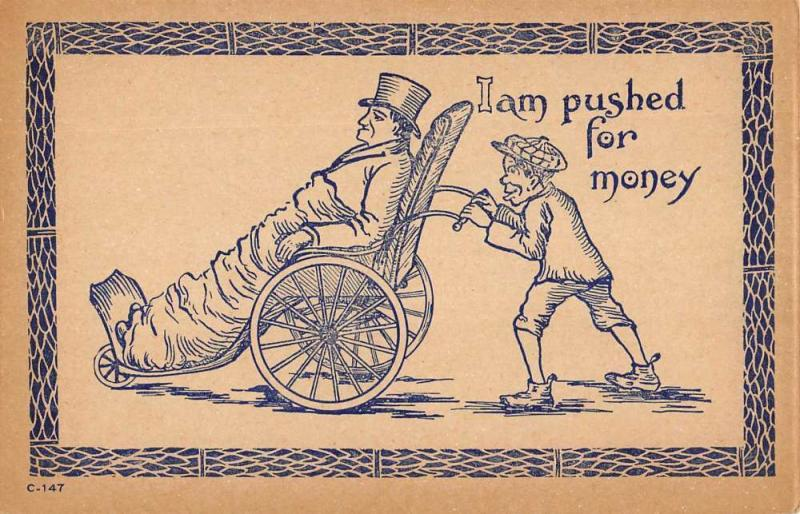 Comic Humor Old Man Wheel Chair Peasant Boy Antique Postcard K7876487