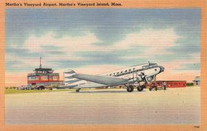 Martha's Vineyard Airport, Massachusetts, Early Linen Postcard, Unused