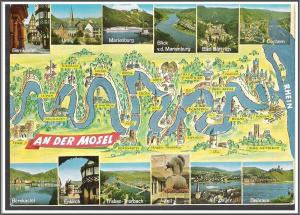 Germany Rhine River Map Postcard