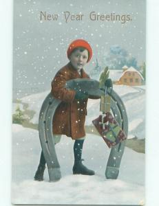 Divided-Back NEW YEAR SCENE Great Postcard W7578
