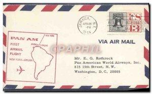 Letter USA 1st flight PAN AM New York Aruba April 26, 1964