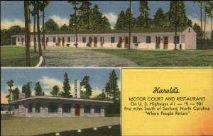 Sanford SC Harold's Motor Court Linen Postcard