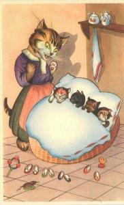 Anthropomorphic Dressed Mama Cat Kittens Comic Humor Postcard 21-5917