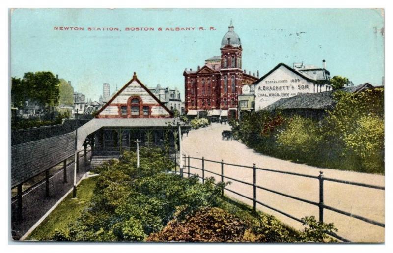 1911 Newton, MA Station, Boston & Albany Railroad Postcard