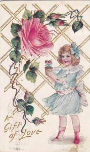 A Gift of Love, Girl holding potted flower, Pink rose, PU-1908