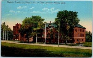 OHIO UNIVERSITY Postcard Masonic Temple & Womans Hall 1912 ATHENS OH Cancel