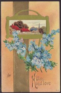 With Kind Love,Flowers,Scene Postcard