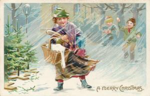 Christmas Greetings -Carrying Goose and Presents in Snow - DB - Tuck