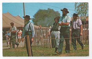Amish Men Women PA County Fair Traditional Clothing Postcard