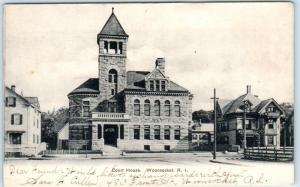 WOONSOCKET, Rhode Island  RI    COURT HOUSE   1906     Postcard