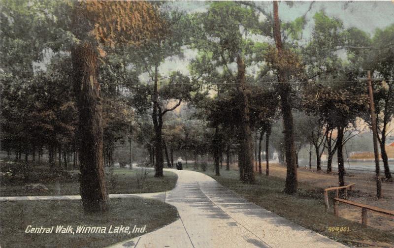Winona Lake Indiana~Central Walk~Lady on Shaded Path~c1910 Postcard