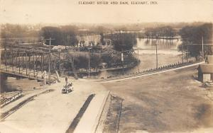 Elkhart Indiana~Vintage Auto Drives by River Dam~Y Intersection~Bridge~1910 RPPC